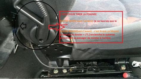 siege auto voiture 3 portes 1 siège passager 206 3 portes ne se bloque plus