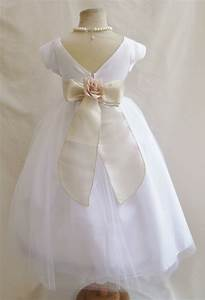 flower girl dresses white with champagne satin dress With white toddler dress for wedding