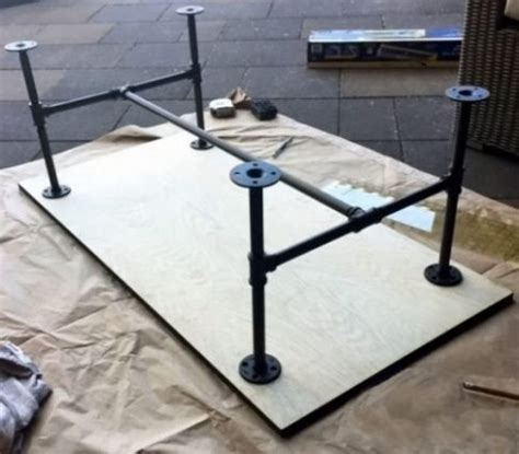 diy industrial coffee table with plumbing pipe base make a diy industrial coffee table today yes you can Diy Industrial Coffee Table With Plumbing Pipe Base