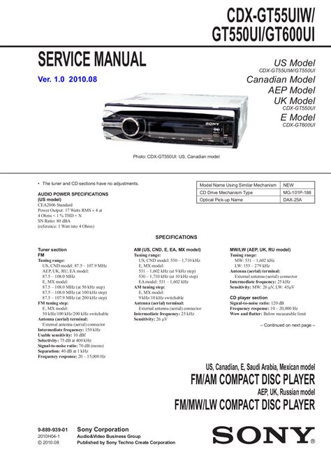 download free pdf for sony xplod cdx gt55uiw car receiver