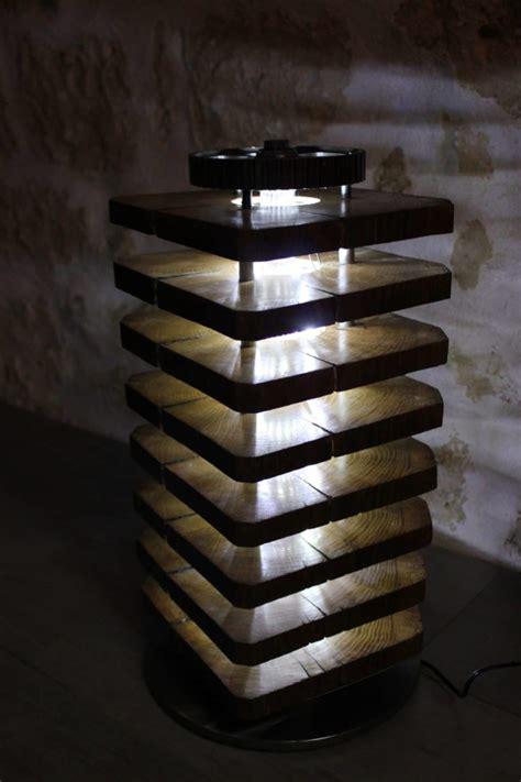 diy floor lamp  wood oak  car parts id lights
