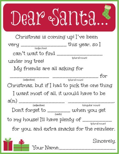 printable letter  santa madlib allfreekidscraftscom