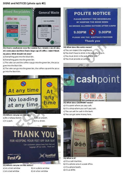signs  notices      pages esl
