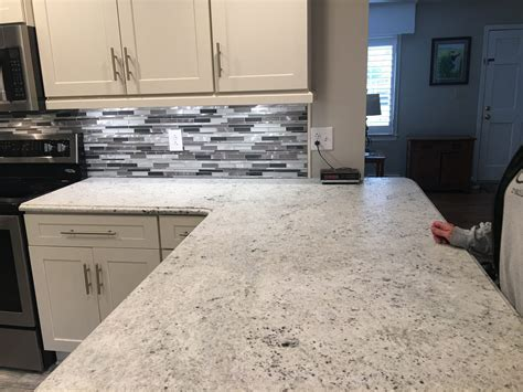 Kitchen: Appealing Colonial White Granite Countertops For