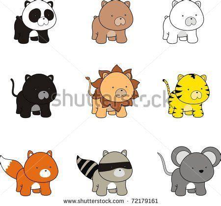 cute fox cartoons baby animals cartoon set  vector