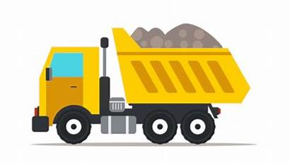 Dump Truck Cartoon Clip Clipart Building Flat