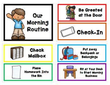 morning routine  dismissal routine chart