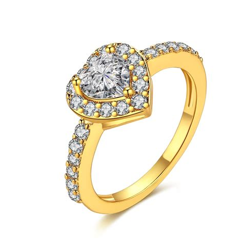 kzcr448 white gold color gold color heart wedding engagement rings for women aaa zircon