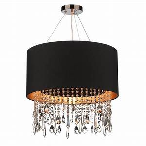 Circular black faux silk pendant light shade on wires