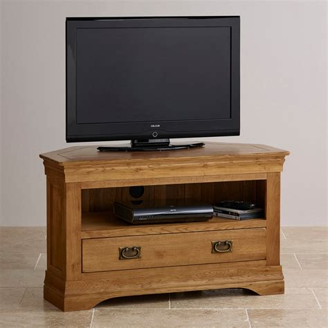 Rustic Oak Corner Tv Cabinet Quercus Living French Farmhouse Corner Tv Unit Solid Oak Oak Furniture Land