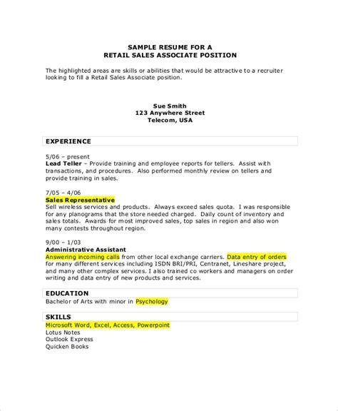 sle sales associate resume 7 exles in pdf