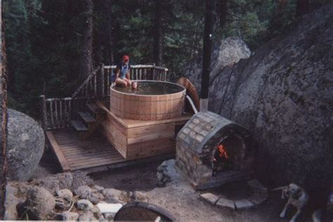 images  wood fired hot tub  pinterest