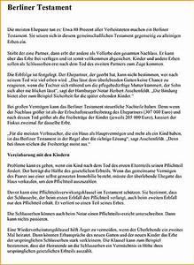 Berliner Testament Beispiel : vorlage berliner testament vorlagen 1001 ~ Orissabook.com Haus und Dekorationen