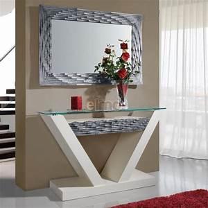 Console D Entrée Design : console entr e contemporaine avec miroir plateau verre dalhia ~ Teatrodelosmanantiales.com Idées de Décoration