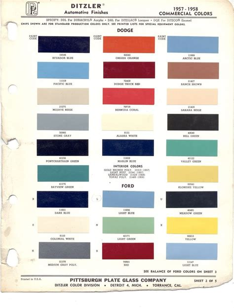 22 best car paint chips 1957 images on colour