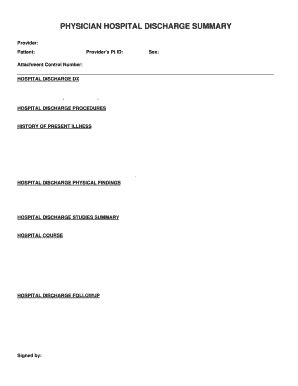 Hospital Discharge Summary - Fill Online, Printable