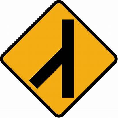Traffic Sign Merging Road Diamond Svg Left