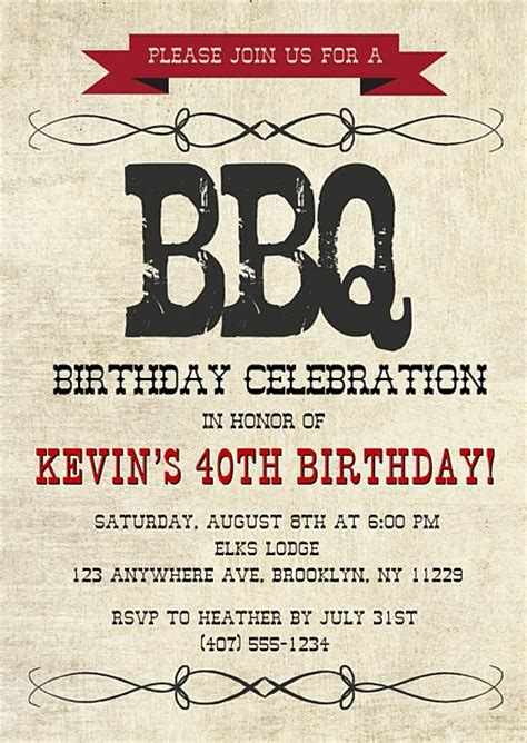 country bbq barbeque birthday invitations