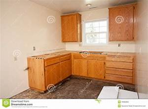 Kitchen Cabinets Without Countertop Stock Photo - Image