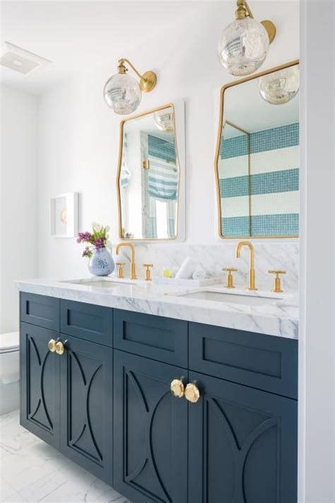 modern white cottage master bathroom  blue double
