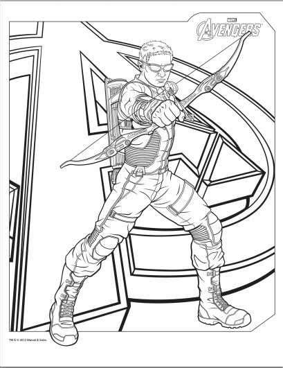 avengers hawkeye coloring page coloring printables