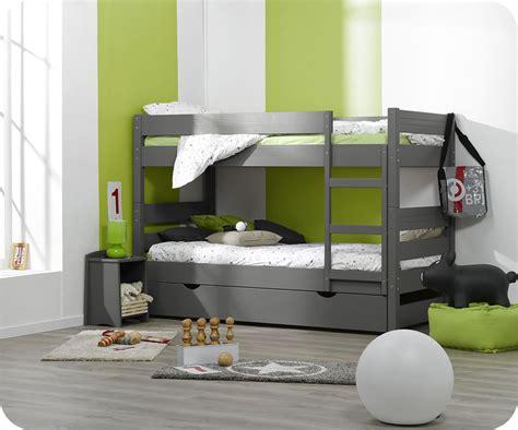 lit superpose avec tiroir lit lit superpos 233 enfant 1 2 3 gris 90x190 cm avec sommier gigogne