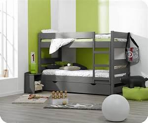 lit superpose enfant 123 gris 90x190 cm avec sommier gigogne With tapis chambre enfant avec canapé stressless 3 places