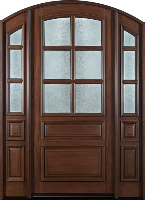 entry door in stock single with 2 sidelites solid with walnut finish classic series