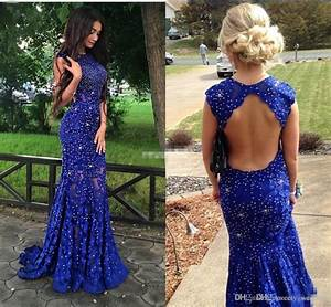 Royal Blue Lace Prom Dresses Sparkly Crystals Open Back ...