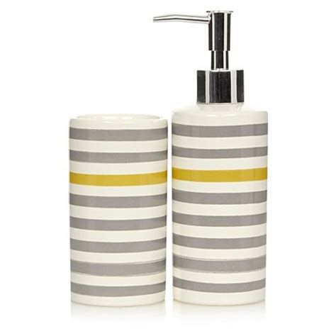 george home grey and yellow stripe bathroom accessories