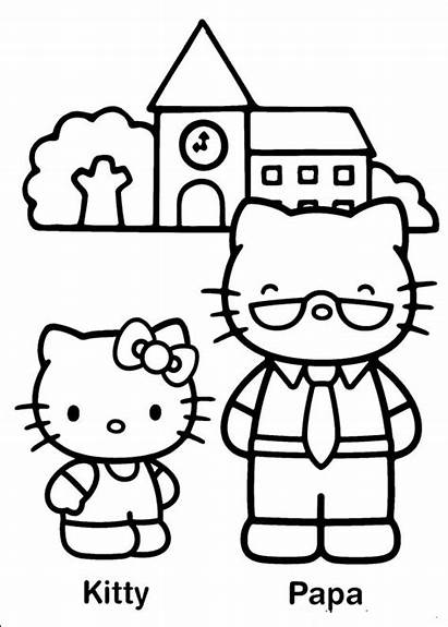 Kitty Hello Coloring Pages Fun Papa