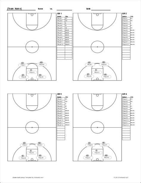basketball lineup sheet screenshot basketball ideas