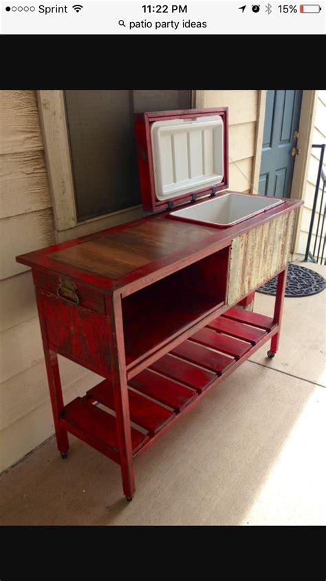 vintage red rolling cooler  bar counter top wood