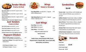 Menu for Tenders Chicken (6326 Andrews Avenue Fort ...