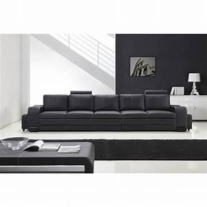 grand canape droit en cuir pleine fleur fabio 5 places With grand canapé lit