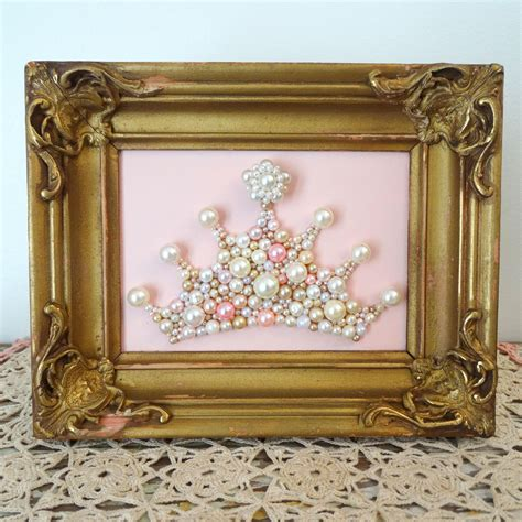 See more ideas about gold walls, home decor, gold paint colors. Princess Crown Wall Art. Pearl Mosaic. Blush Pink, Gold Ornate Framed Art. Girls Nursery Decor ...