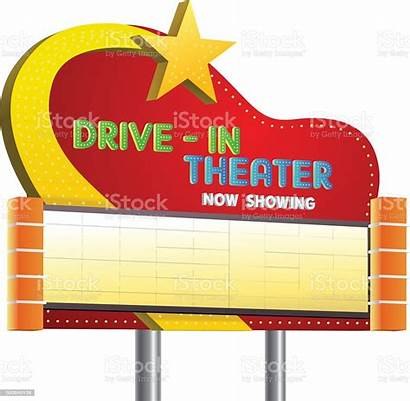 Drive Theater Sign Banner Vector Cartoon Showing