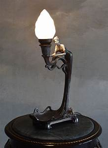 Tischlampe Vintage Shabby : tischlampe jugendstil frauenfigur shabby leuchte vintage ~ Watch28wear.com Haus und Dekorationen