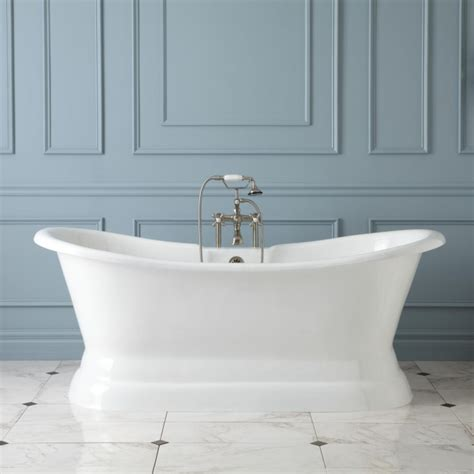 langly cast iron double slipper pedestal tub