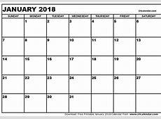 January 2018 Calendar Word Templates, Printable and Editable
