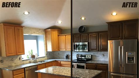 refinished kitchen cabinets before and after cabinet refinishing service woodworks refurbishing utah 9212