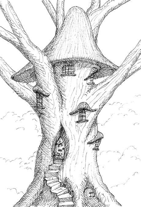 Fairy Pencil Drawings of Tree Houses