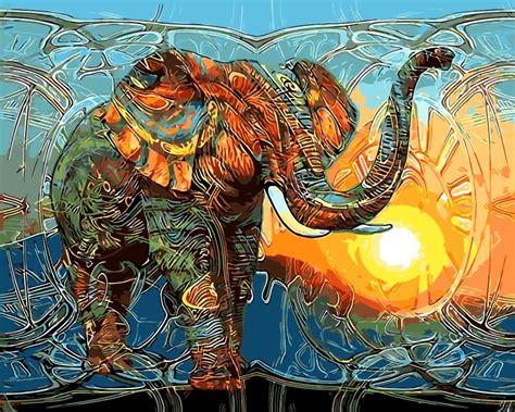 abstrak hewan warna warni cat minyak lukisan gambar dengan