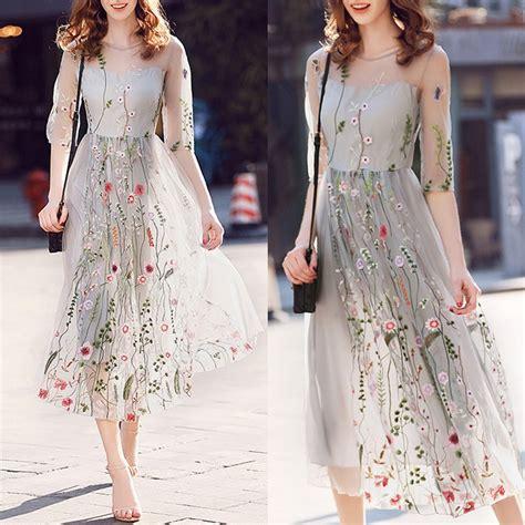Au Women Floral Short Sleeve Dress Prom Evening Party