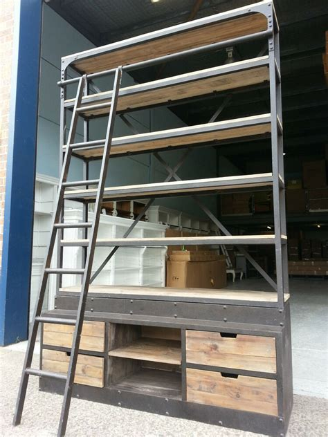 Rustic Ladder Bookcase by New Industrial Recycled Vintage Rustic Bookcase