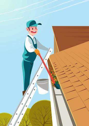 man cleaning gutter   vectors clipart