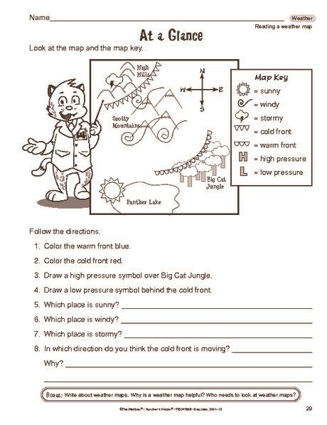 reading a weather map identification elementary science