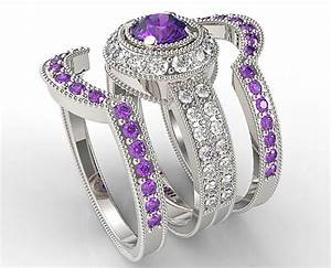 Vintage amethyst diamond triple wedding ring set vidar for Amethyst diamond wedding ring set