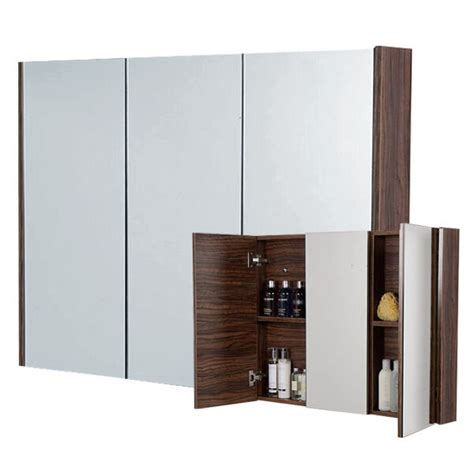 Bathroom Cupboard With Mirror by Large 90cm 3 Door Walnut Bathroom Furniture Mirror Cabinet