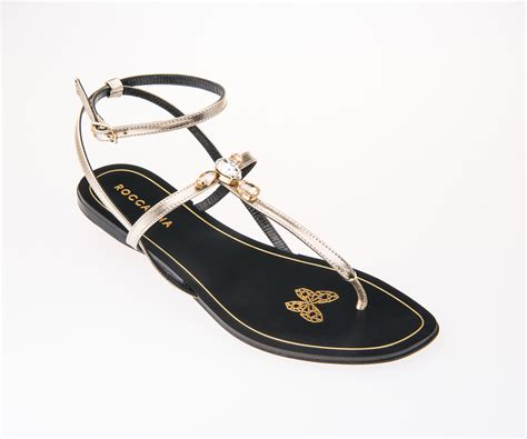 Gold Sandals With Stones & Jewels, Flat Thong Womens Sandals